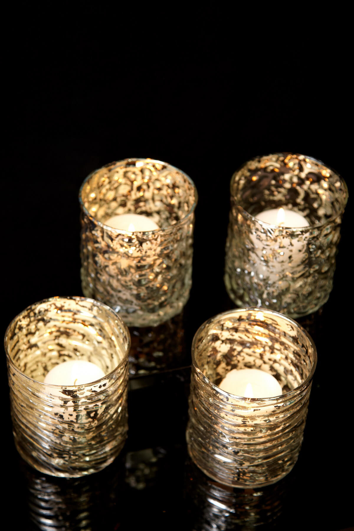 4 Mercury Glass Candle Holders