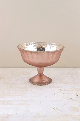 Mercury Glass Compote Frosted Rose 7x5.5in