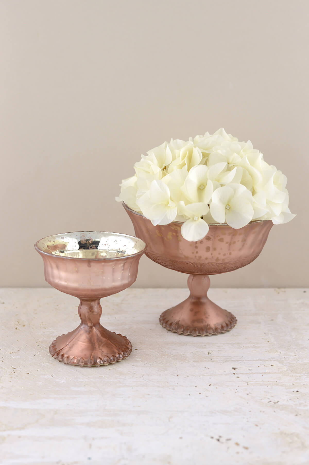 Mercury Glass Compote Frosted Rose 7x5 5in