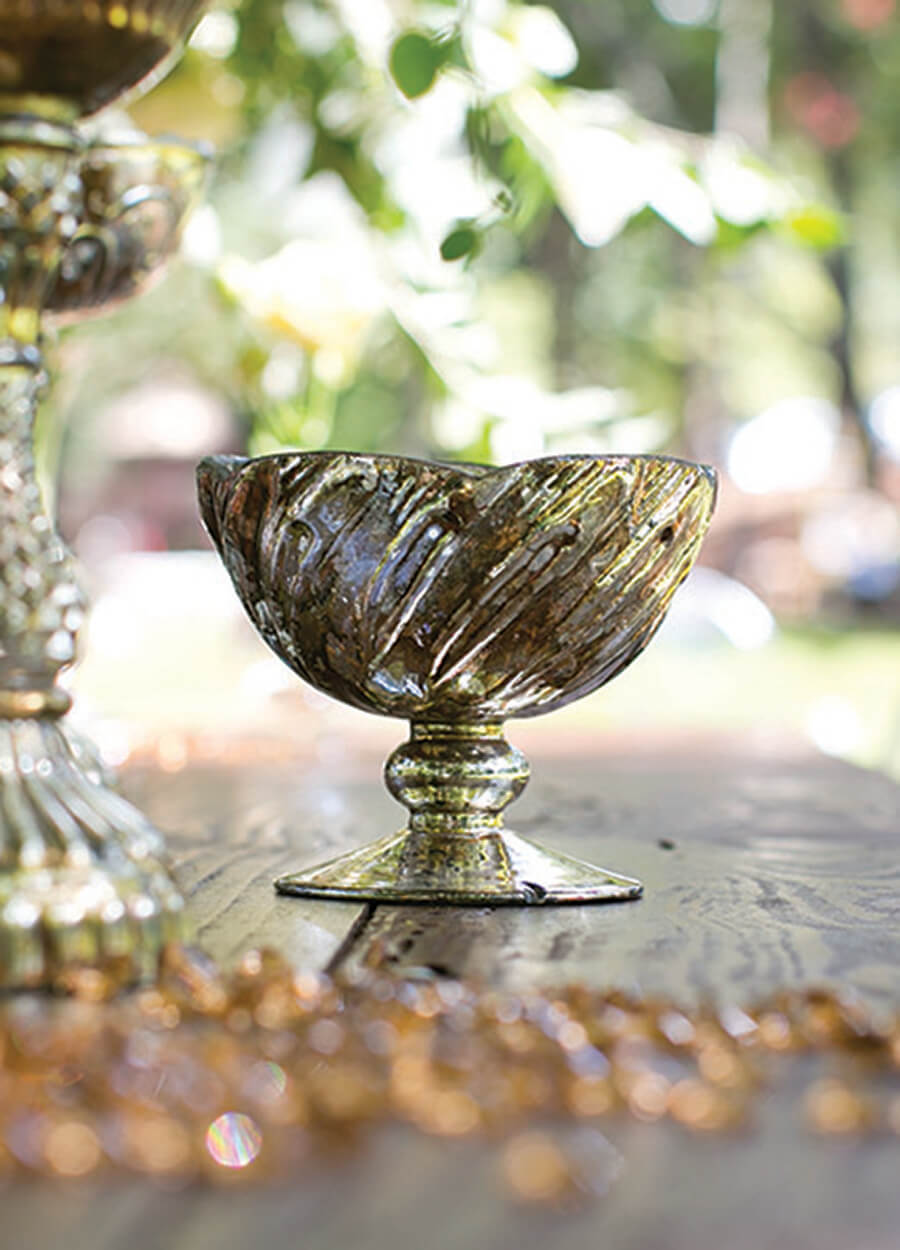 Mercury Glass Fairytale Compote 5x4 25in