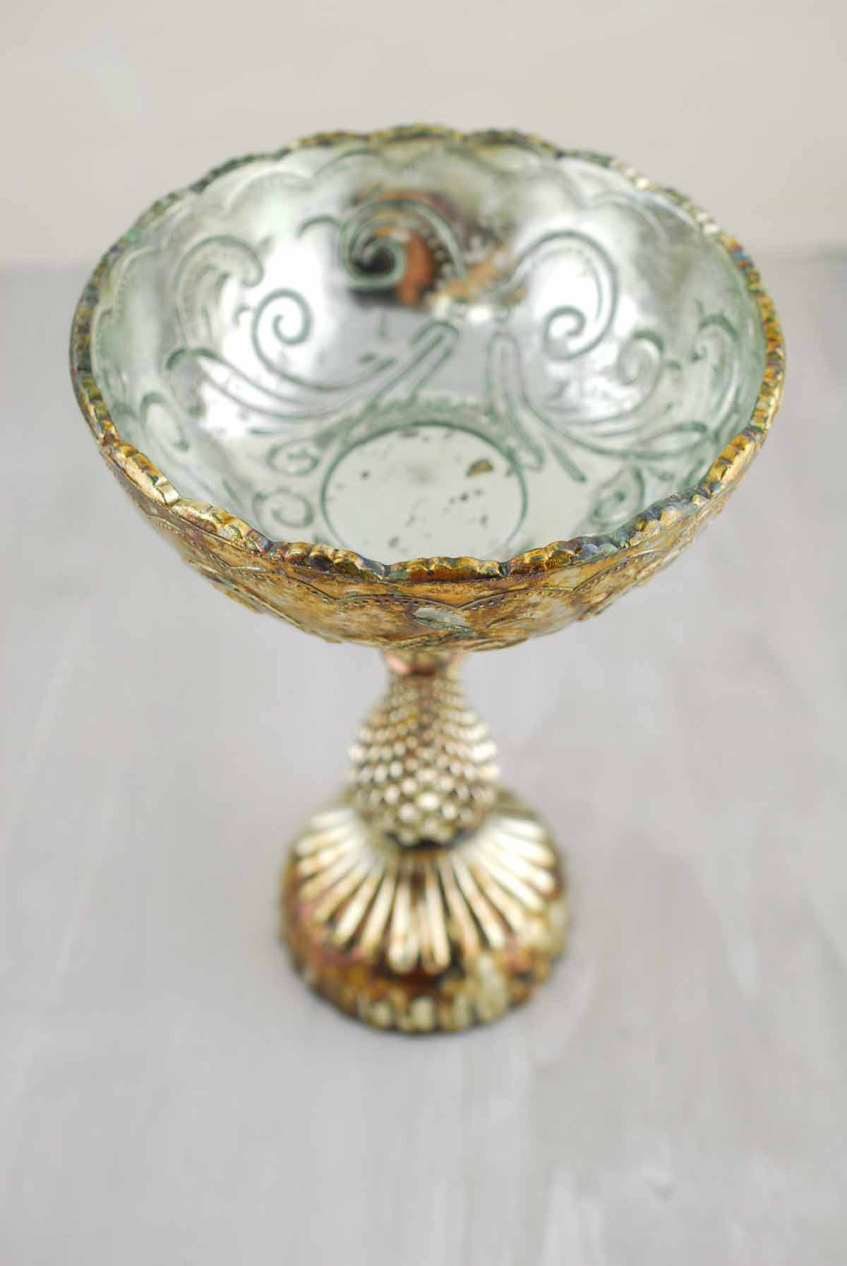 Mercury Glass Fairytale Compote 6x8.5in
