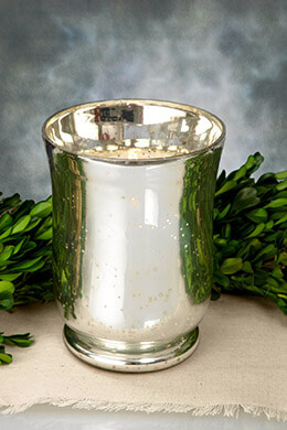 Mercury Glass Hurricane Vase 6in