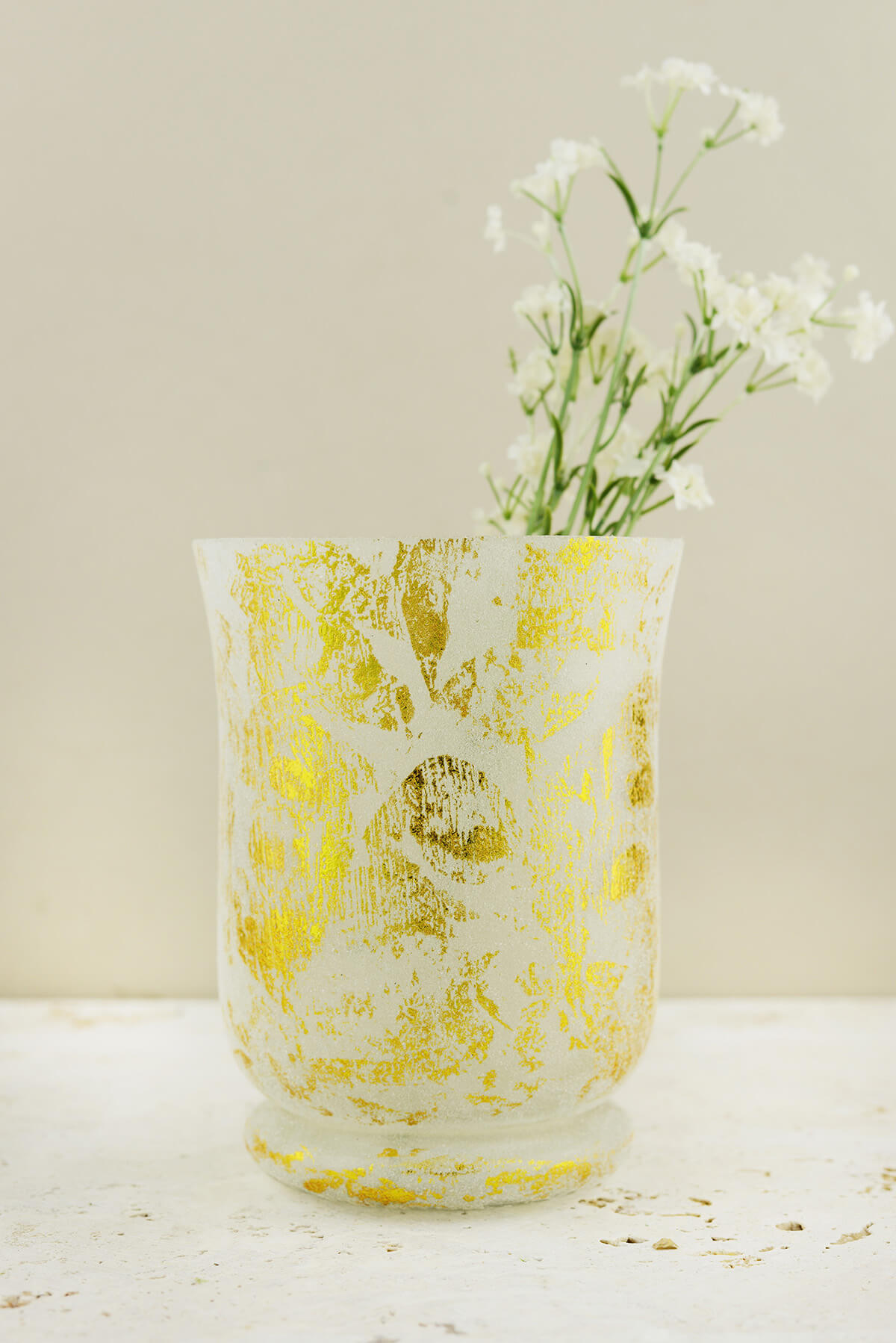 Mercury Glass Hurricane Vase Frosted Gold 6in