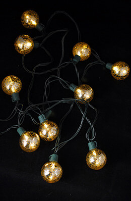 Mercury Glass Globe String Lights 10ct - 9ft Green Cord