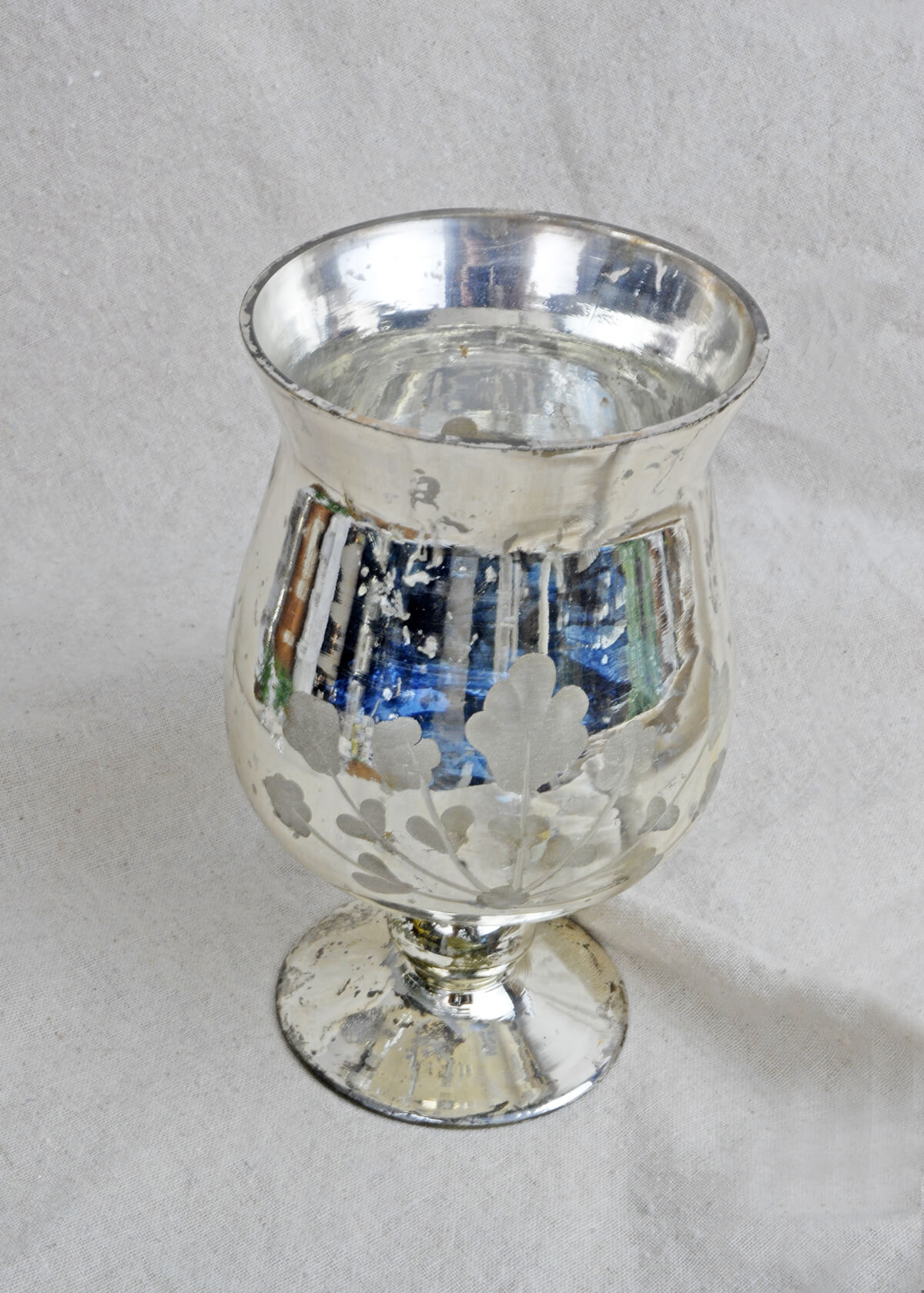 Mercury glass vase fluted ivy vase candleholder mercury glass silver 675in reviewsmspy