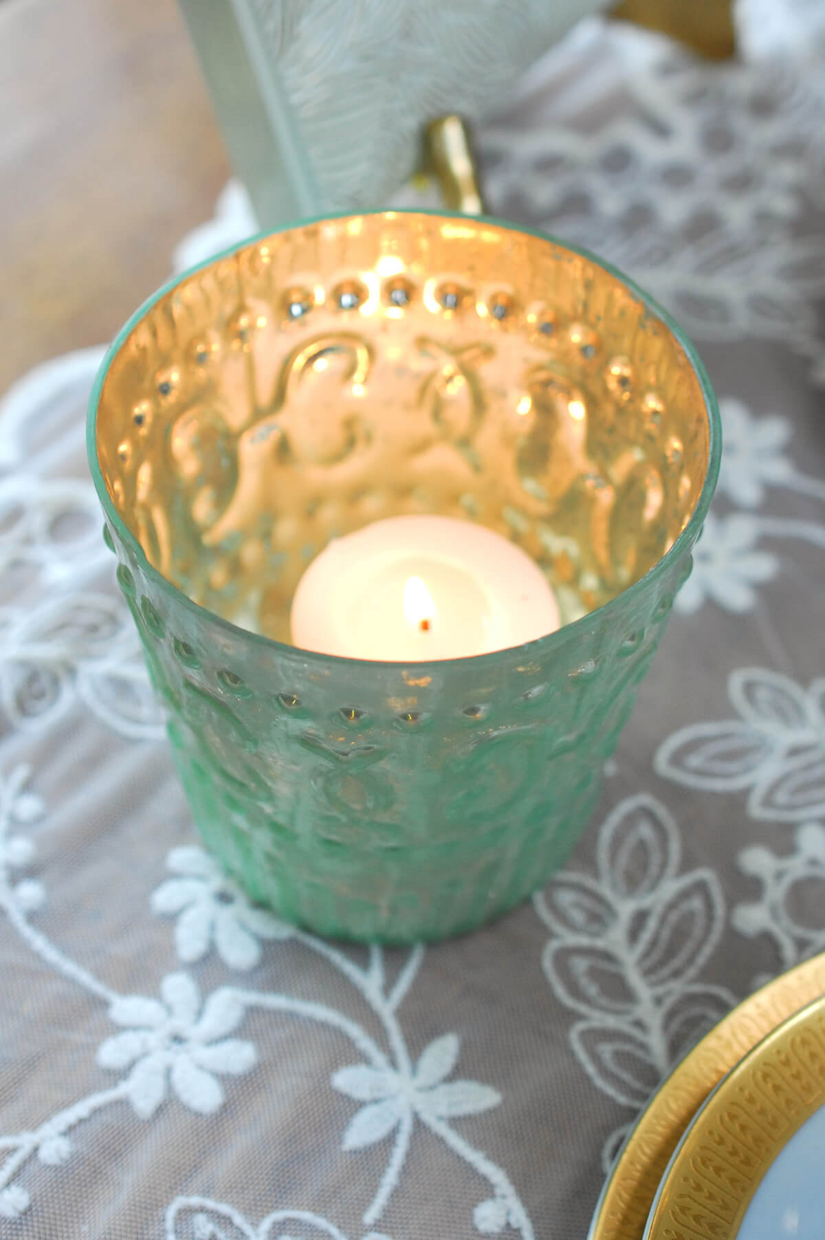 Mercury Glass Votive Holder Light Green 3 8in