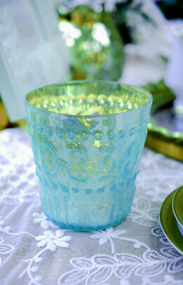 Mercury Glass Votive Holder - Light Blue 3.8in