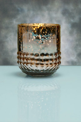 6 Array Gold Votive Holders Mercury Glass