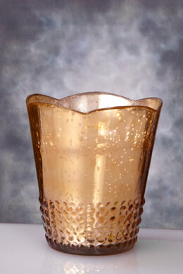 "Rose Gold Array Mercury Glass 5.25"" Votive Candle Holders"