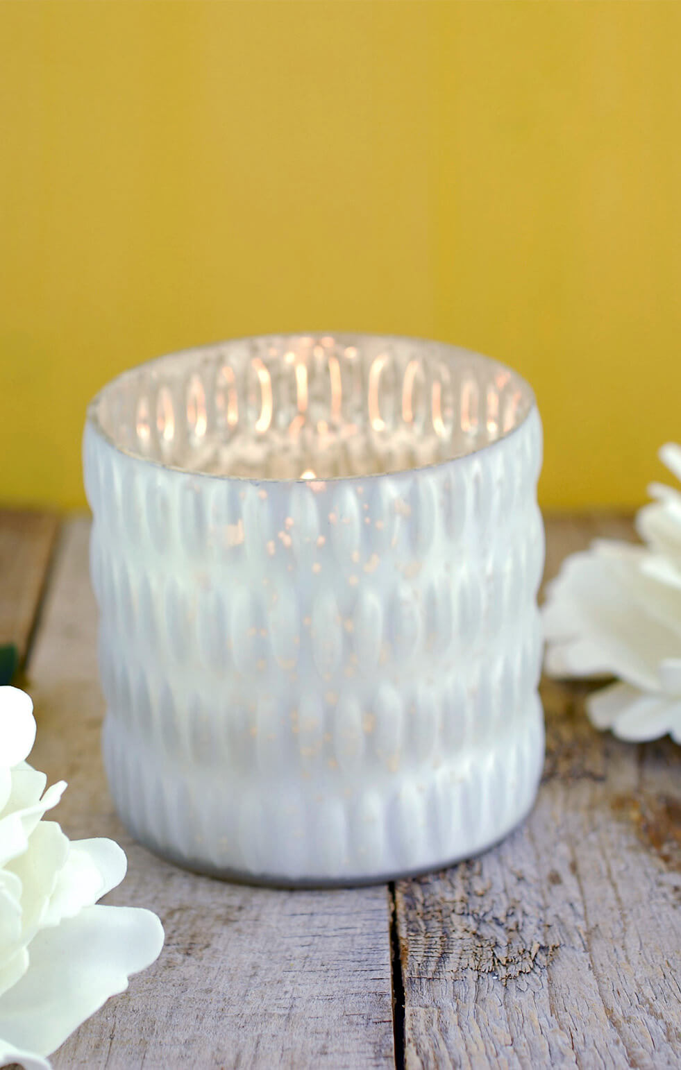 Beverly White Mercury Glass Votive Cup 3 5 Quot