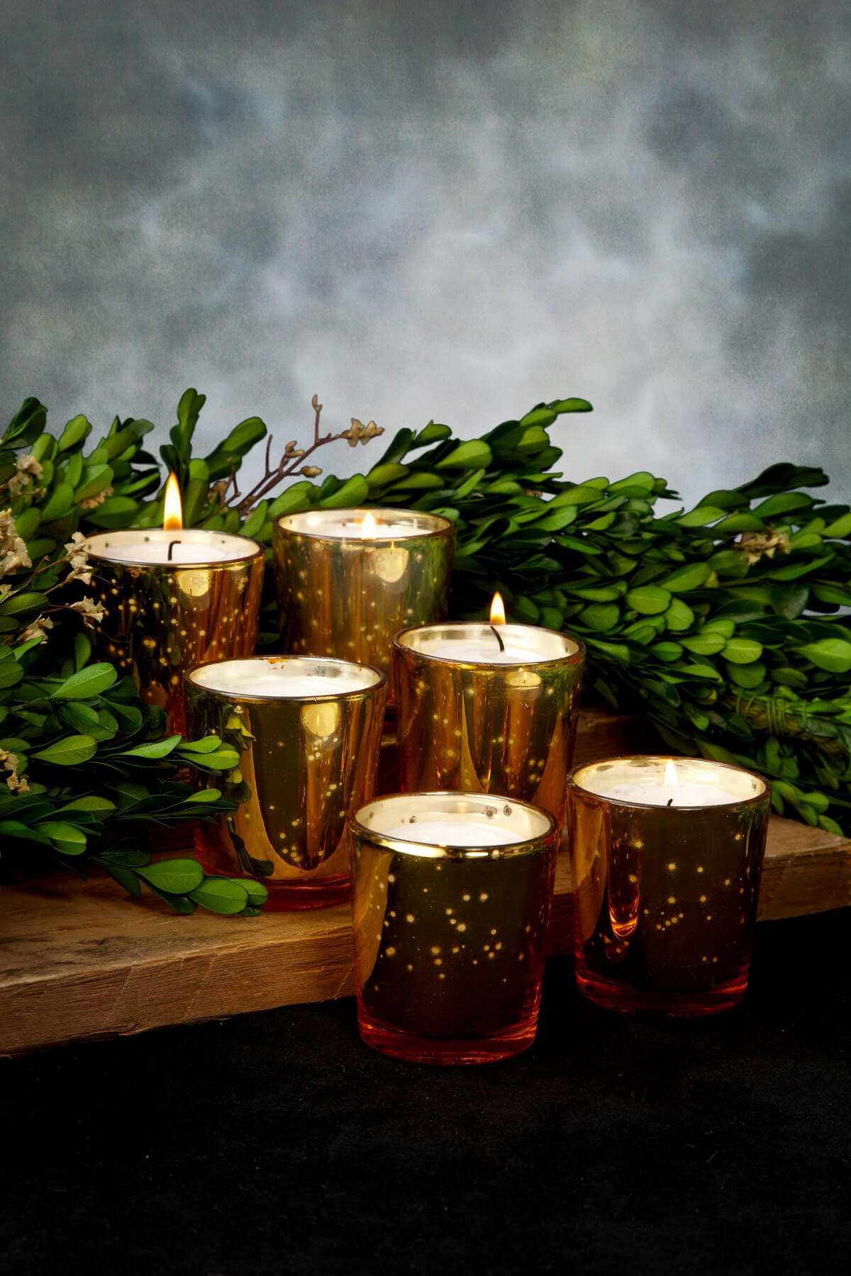 Mercury Glass Votive Holder Cups Gold (Set of 12)
