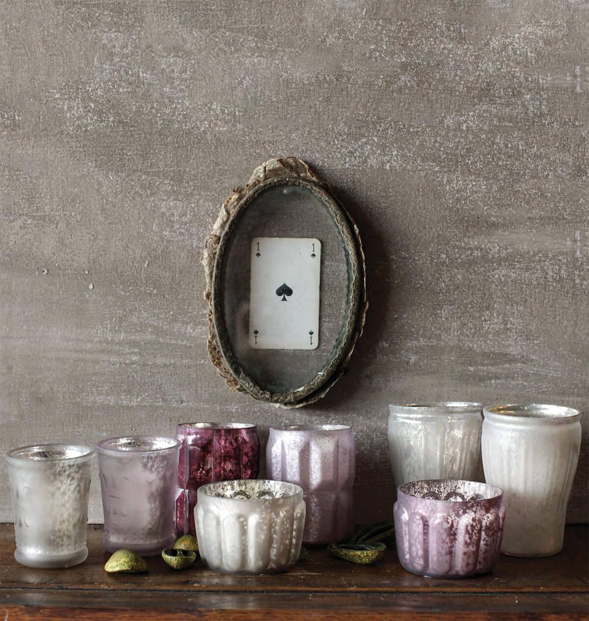 mercury glass votive holders pink u0026 plum set of 8