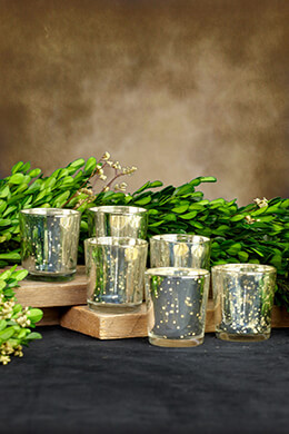 6 Mercury Glass Votive Holders