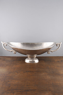 Metal Boat Bowl Silver 22in