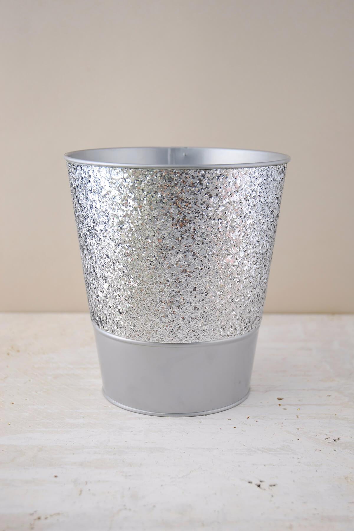 Metal Bucket Glittered Silver 7 25in