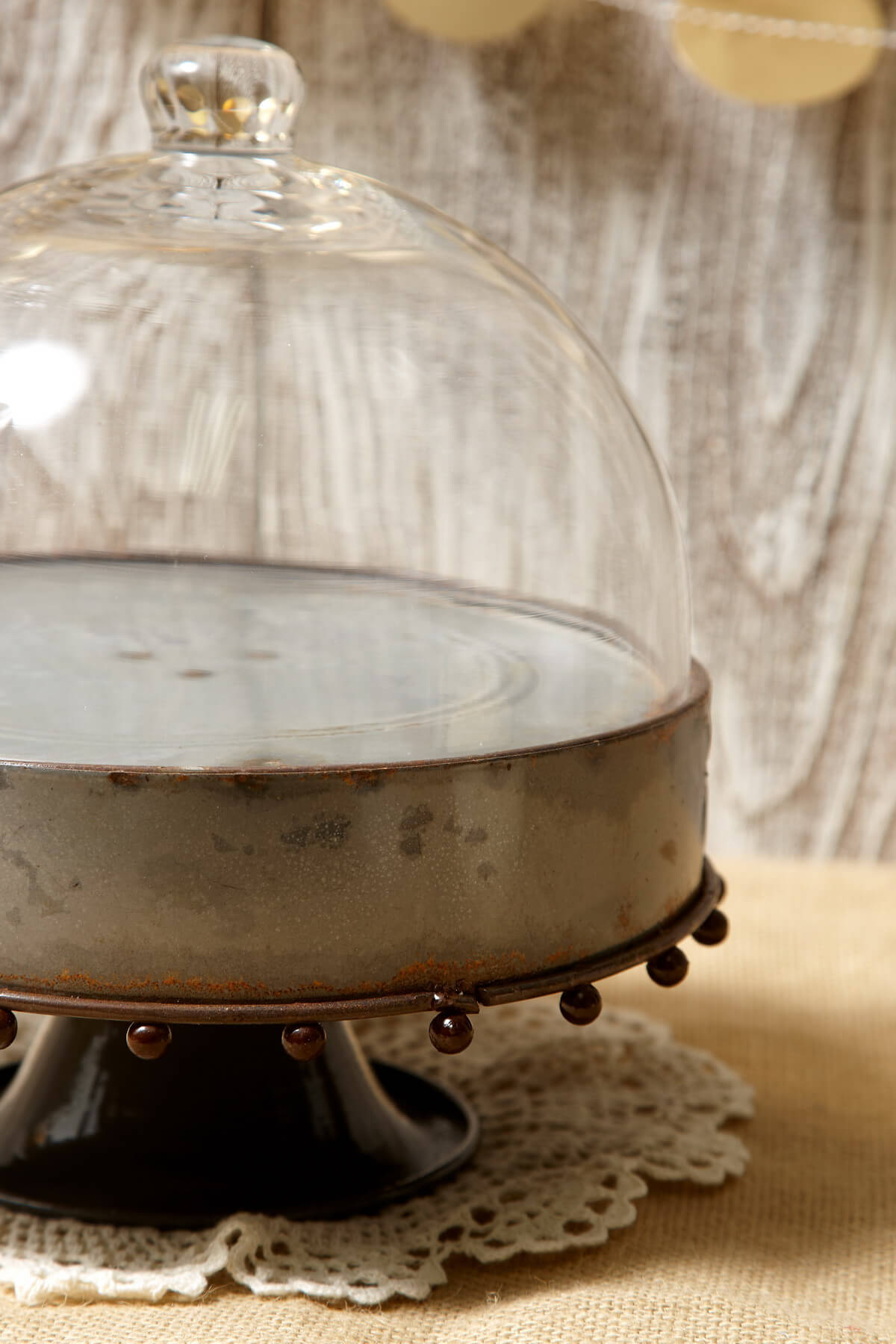 Metal Rustic Zinc Cake Stand With Glass Cloche 8 25in