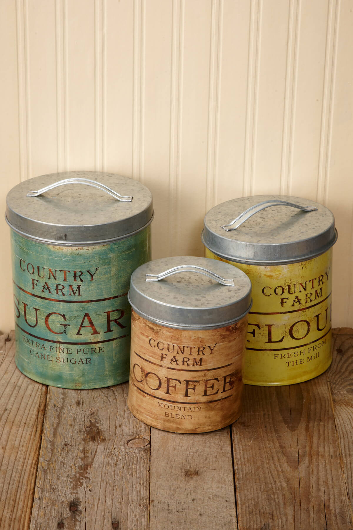Vintage Galvanized Canister Set of 3