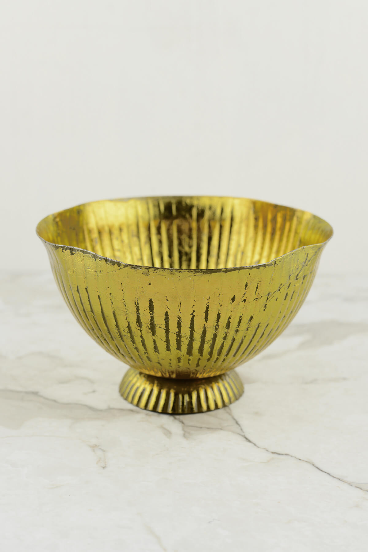 """Maverick Gold Metal 8"""" Compote  Vase"""