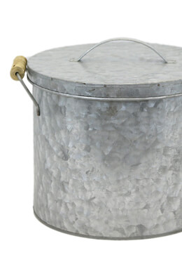 Galvanized Ice Bucket With Lid 9x8