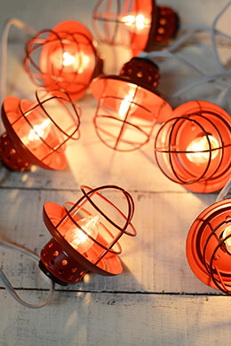 Nautical Cage  String Lights Red 10ct Patio & Garden Lights