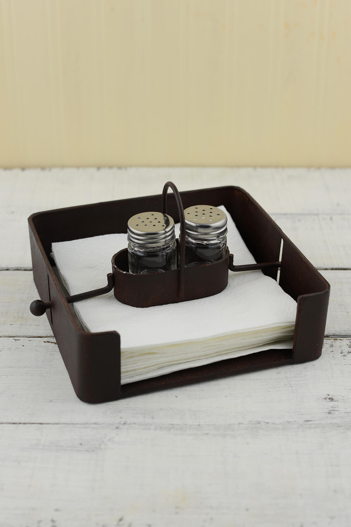 Iron Napkin Holder with Salt & Pepper Shakers
