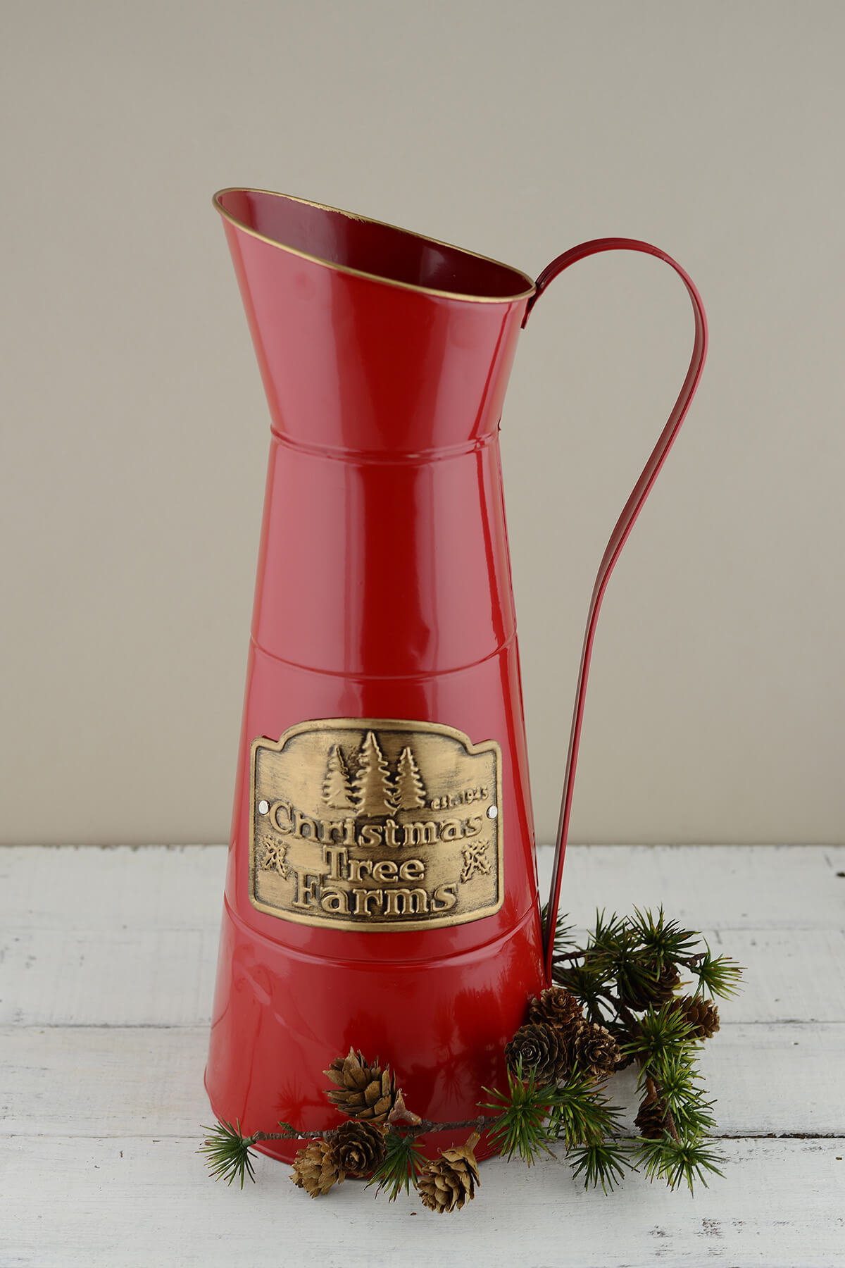 Red Metal Christmas Tree Farm Pitcher 16in