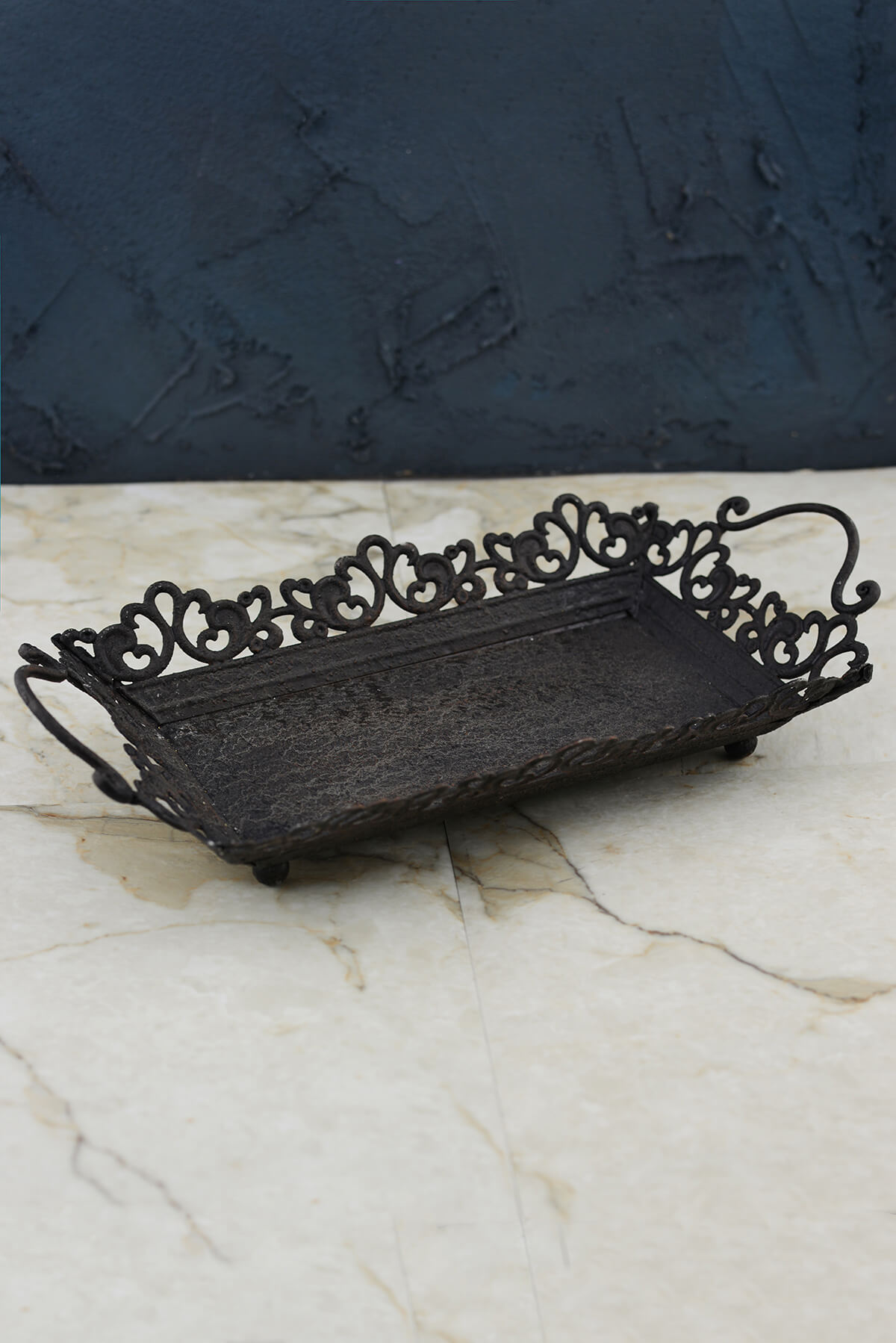 Decorative Metal Serving Tray With Handles Rustic Black