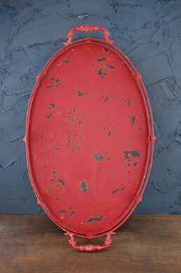 Distressed Red Metal Tray  12 x 18.5