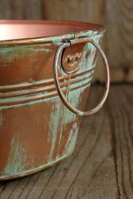 "Copper 12-1/2"" Tub Verdigris with Ring Handles"