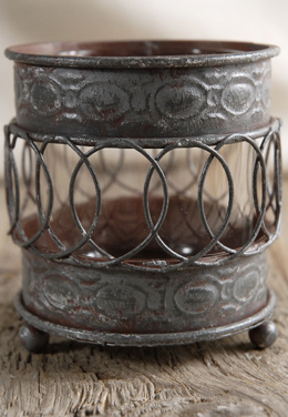 Vintage Metal Votive Candle Holder 3.5in
