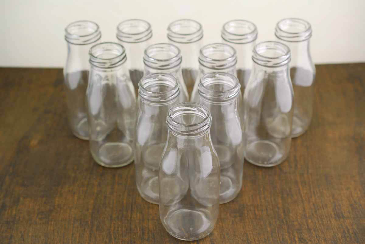 12 Glass Milk Bottles 10oz