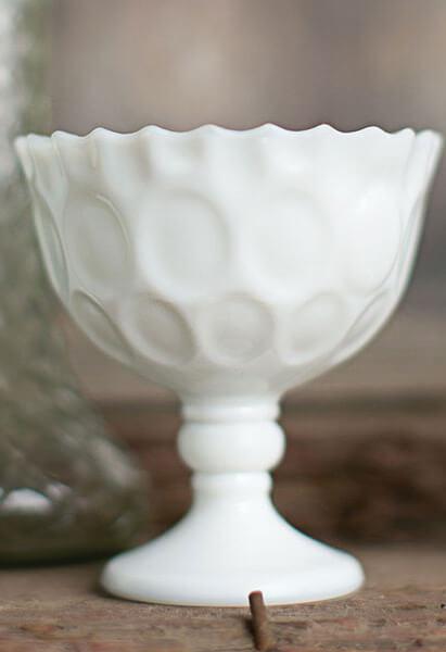 """6 Heirloom Milk Glass 4"""" Goblet"""