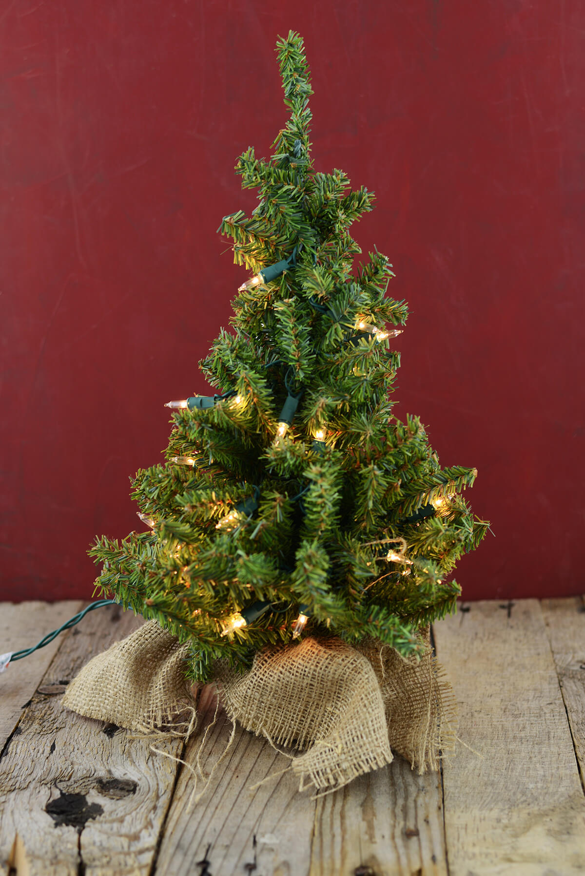 lit Artificial 18 Inch Pine Tree Burlap Sack Base Tabletop ...