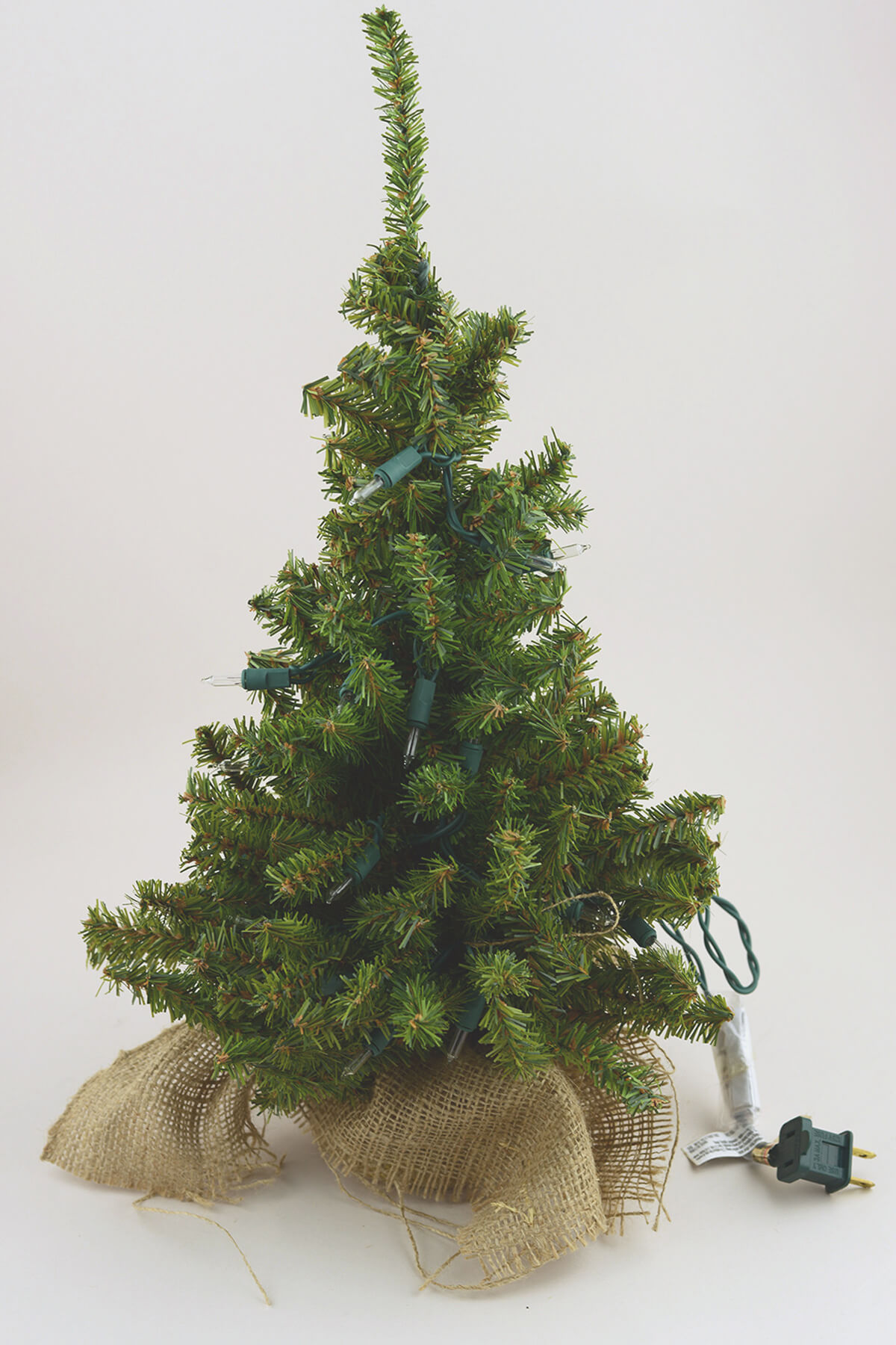 Top Pre-lit Artificial 18 Inch Pine Tree Burlap Sack Base Tabletop  JW14