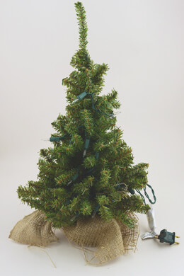 Pre-lit Artificial 18 Inch Pine Tree Burlap Sack Base Tabletop Christmas Tree