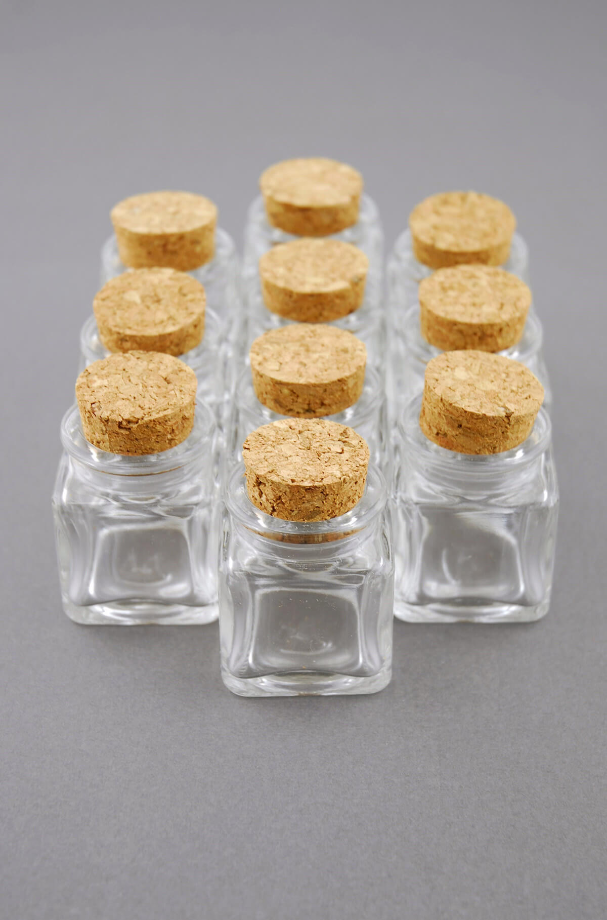 Mini Glass Bottle Square With Cork 14oz Pack Of 24