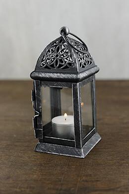 6 Black Metal & Glass Moroccan Tealight Lanterns