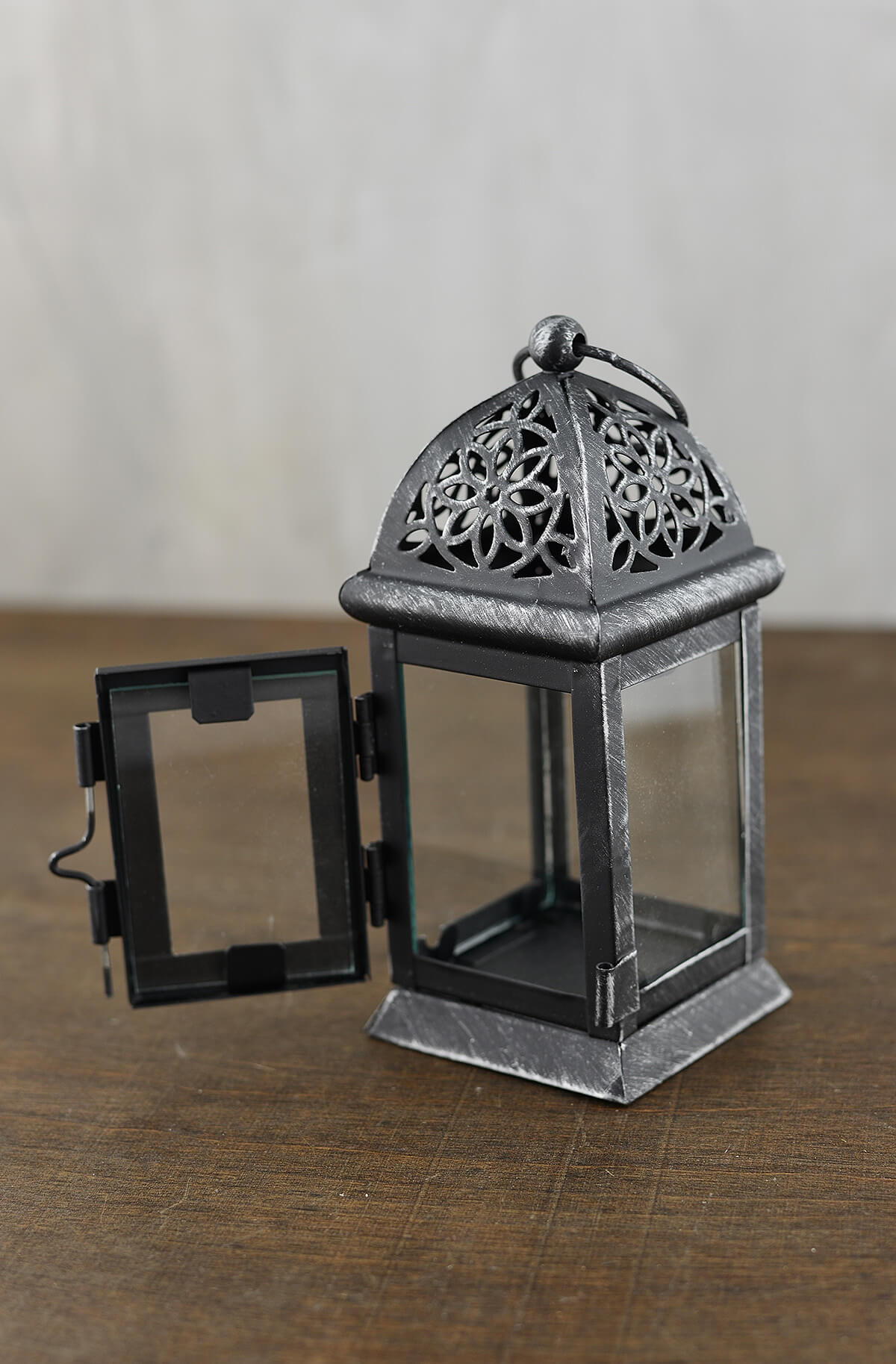 6 Black Metal Amp Glass Moroccan Tealight Lanterns
