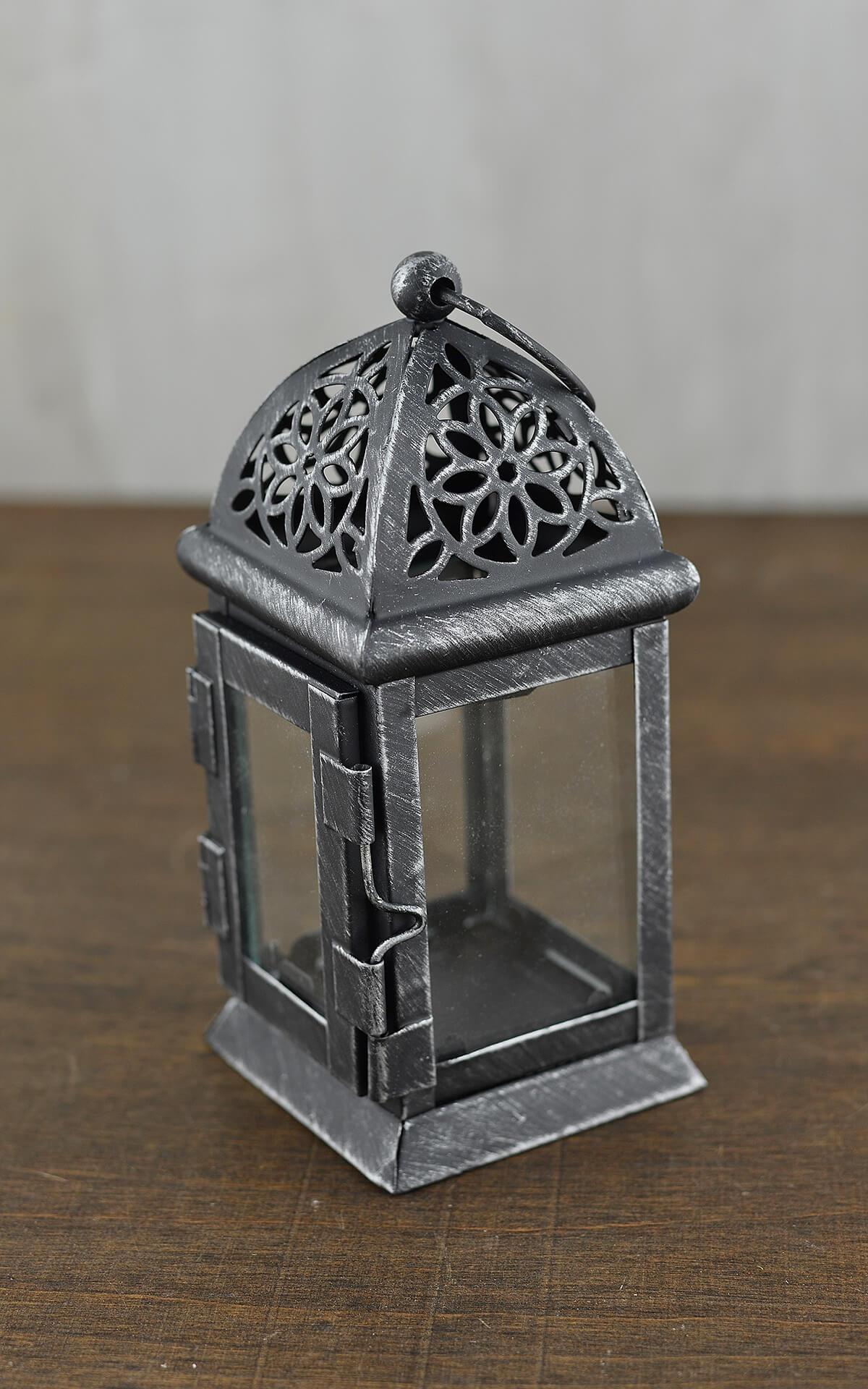 6 Black Metal Amp Glass Moroccan Tealight Lanterns