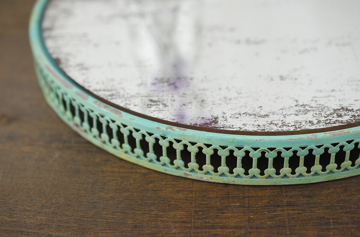 "Turquoise Metal Lace Trimmed 11"" Distressed Mirror Tray"