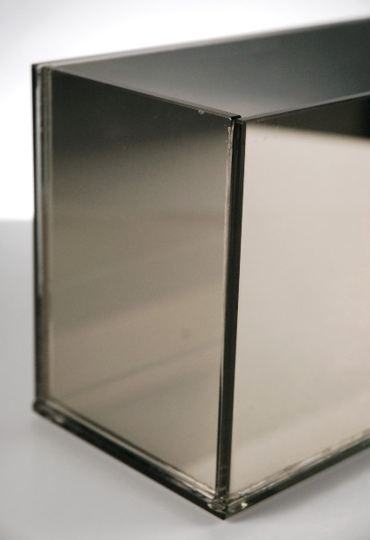 Mirrored Glass Rectangular Candle Holder 23""