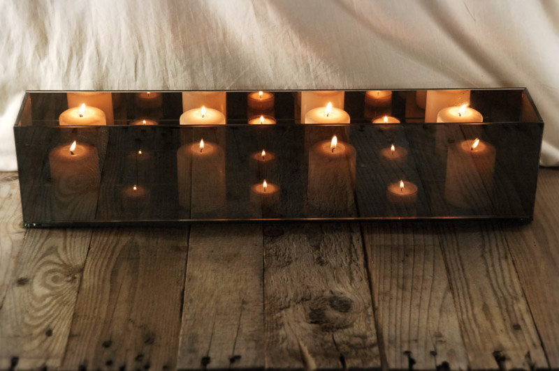 Mirrored Glass Candle Holder