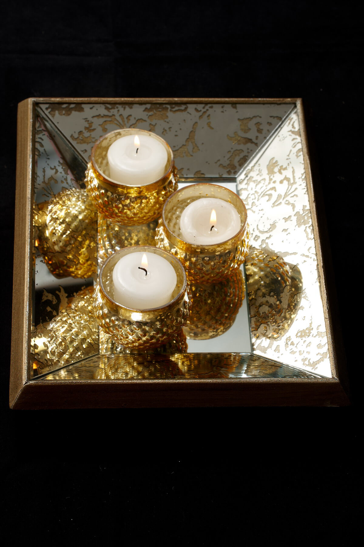 Gold Accented Beveled Mirrored 9x11  Tray