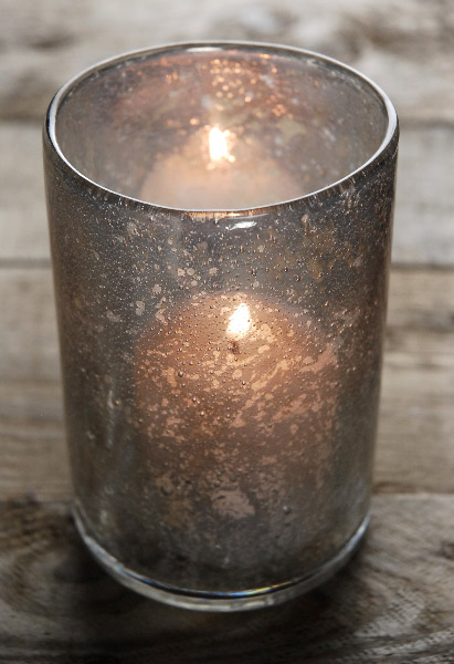 Moonstruck Silver Mercury Glass Votive Holder and Vase
