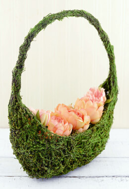 15in Moss Covered Half Moon Flower Girl Basket
