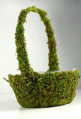 9.5in Moss Covered Baskets