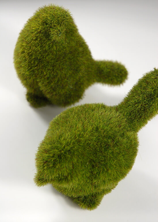 Pair Of Faux Moss Birds 4in Amp 5in