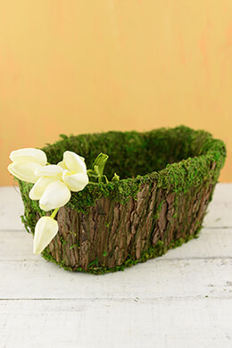 Moss Covered Basket 12.5 Inch Oval