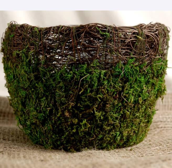 Wicker Amp Moss Flower Planter 7in
