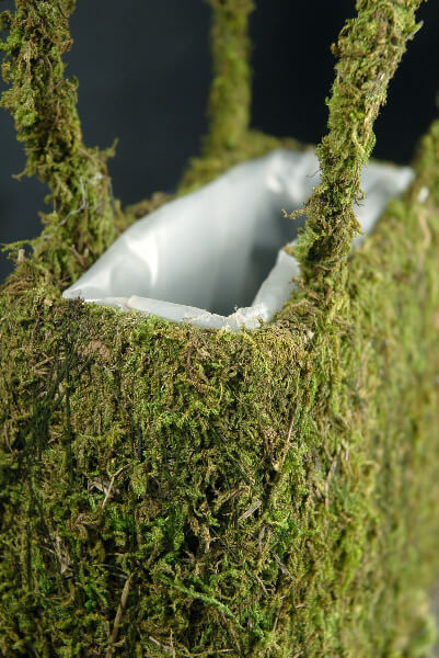 Natural Preserved Moss Covered Purse Planter 8 3 4in